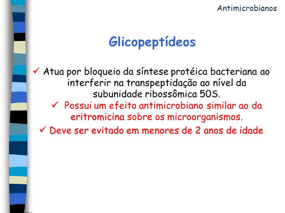 Glicopeptídeos eritromicina Atua por bloqueio da síntese protéica bacteriana ao interferir na transpeptidação ao nível da subunidade ribossômica 50S.