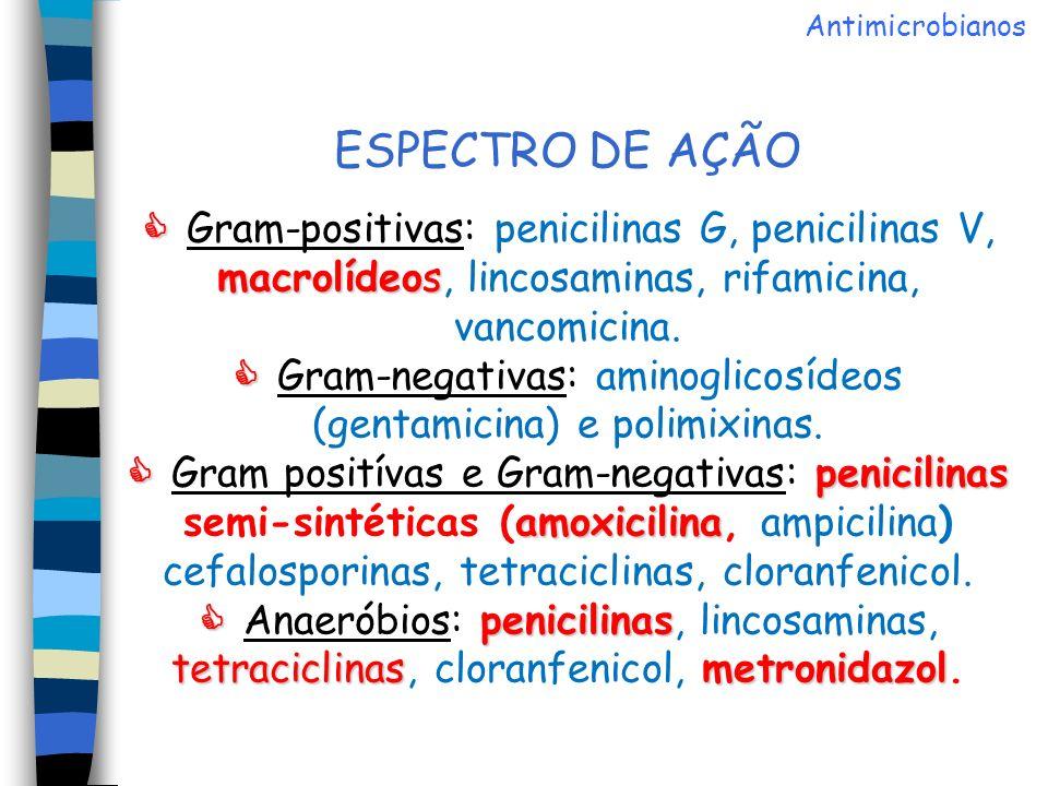 PENICILINAS Amoxicilina Oxacilina, cloxacilina e dicloxacilina PENICILINAS Benzilpenicilina Fenoximetilpenicilina Ampicilina e Amoxicilina Oxacilina, cloxacilina e dicloxacilina Carbenicilina e ticarcilina Azlocilina, mezlocilina e piperacilina Antimicrobianos