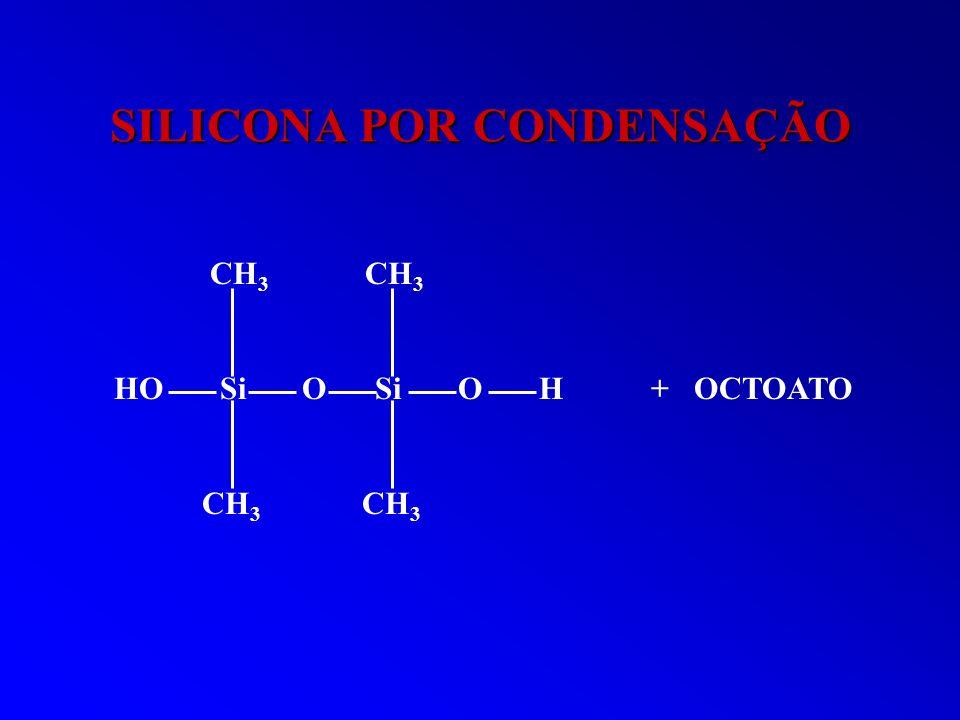 SILICONA POR CONDENSAÇÃO CH 3 CH 3 HO Si O Si O H + OCTOATO CH 3 CH 3