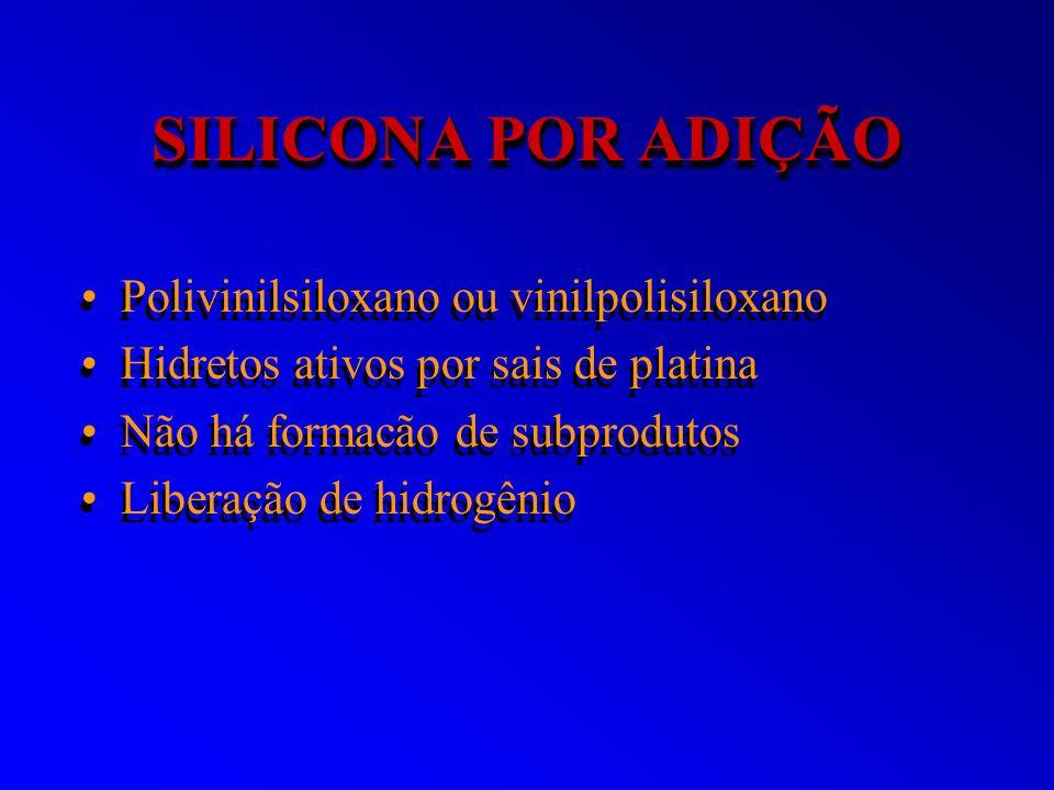 SILICONA POR ADIÇÃO Polivinilsiloxano ou vinilpolisiloxano Hidretos ativos por sais de platina Não há formacão de subprodutos Liberação de hidrogênio
