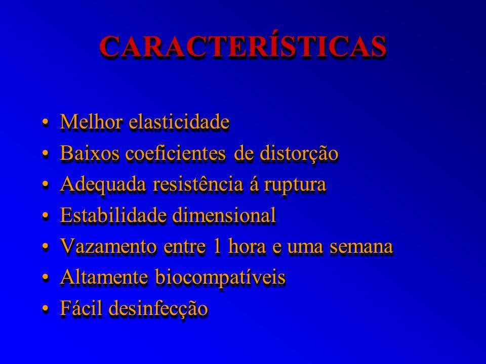 CARACTERÍSTICASCARACTERÍSTICAS Melhor elasticidadeMelhor elasticidade Baixos coeficientes de distorçãoBaixos coeficientes de distorção Adequada resist