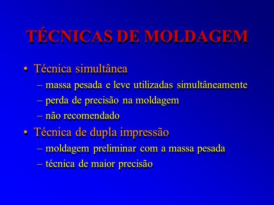 TÉCNICAS DE MOLDAGEM Técnica simultânea –massa pesada e leve utilizadas simultâneamente –perda de precisão na moldagem –não recomendado Técnica de dup