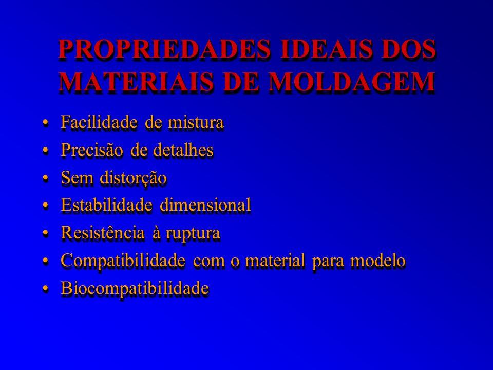 PROPRIEDADES IDEAIS DOS MATERIAIS DE MOLDAGEM Facilidade de misturaFacilidade de mistura Precisão de detalhesPrecisão de detalhes Sem distorçãoSem dis