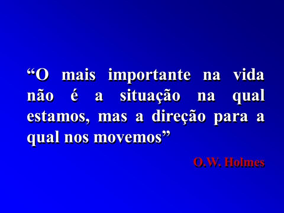 O mais importante na vida não é a situação na qual estamos, mas a direção para a qual nos movemos O.W. Holmes O mais importante na vida não é a situaç