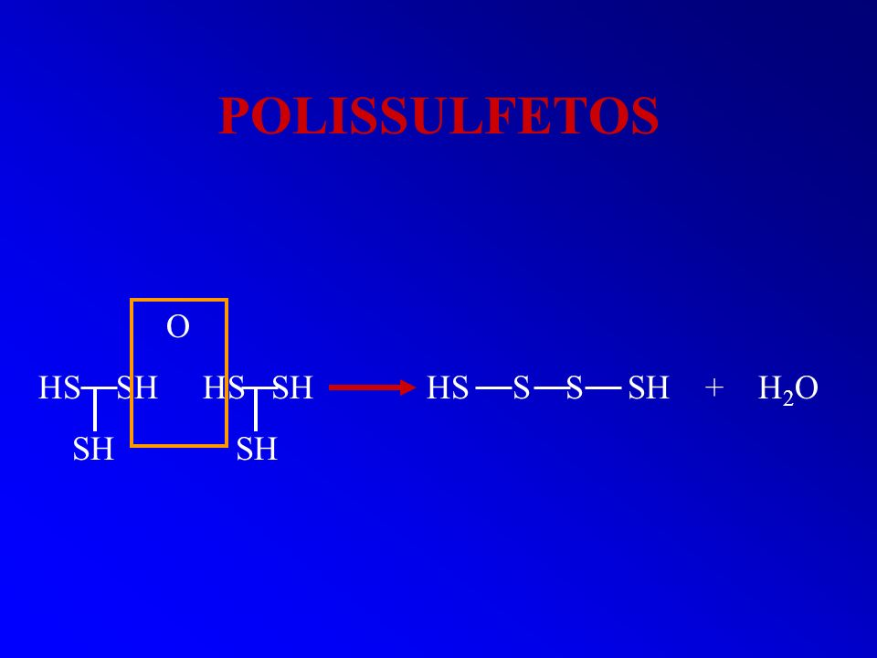 POLISSULFETOS O HS SH HS SH HS S S SH + H 2 O SH SH