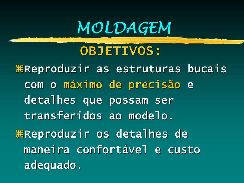 MOLDAGEM OBJETIVOS: OBJETIVOS: zReproduzir as estruturas bucais com o máximo de precisão e detalhes que possam ser transferidos ao modelo. zReproduzir