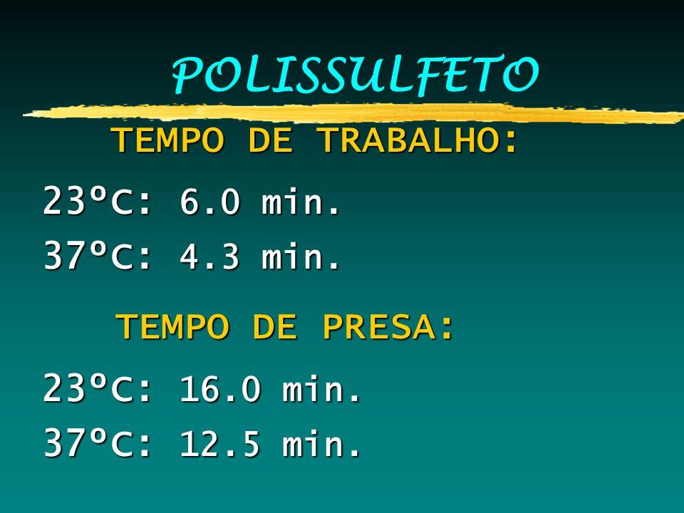 POLISSULFETO TEMPO DE TRABALHO: TEMPO DE TRABALHO: 23ºC: 6.0 min. 37ºC: 4.3 min. TEMPO DE PRESA: TEMPO DE PRESA: 23ºC: 16.0 min. 37ºC: 12.5 min.