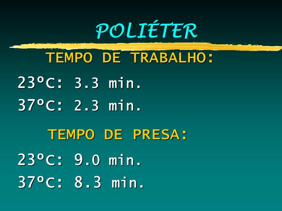 POLIÉTER TEMPO DE TRABALHO: TEMPO DE TRABALHO: 23ºC: 3.3 min. 37ºC: 2.3 min. TEMPO DE PRESA: TEMPO DE PRESA: 23ºC: 9.0 min. 37ºC: 8.3 min.