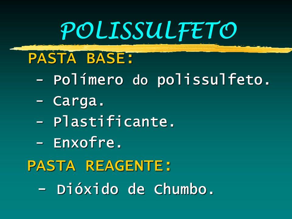 POLISSULFETO PASTA BASE: PASTA BASE: - Polímero do polissulfeto. - Polímero do polissulfeto. - Carga. - Carga. - Plastificante. - Plastificante. - Enx
