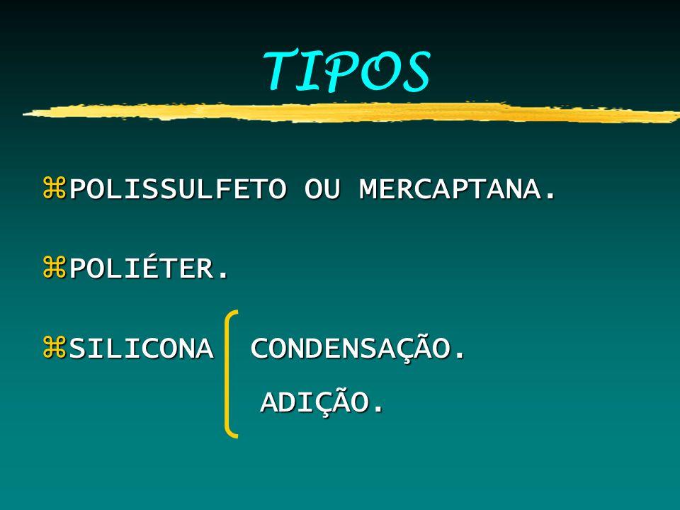 TIPOS zPOLISSULFETO OU MERCAPTANA. zPOLIÉTER. zSILICONA CONDENSAÇÃO. ADIÇÃO. ADIÇÃO.