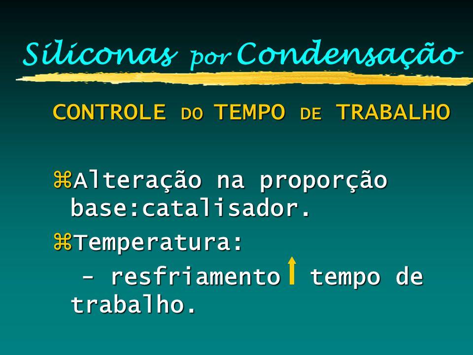 Siliconas por Condensação CONTROLE DO TEMPO DE TRABALHO zAlteração na proporção base:catalisador. zTemperatura: - resfriamento tempo de trabalho. - re