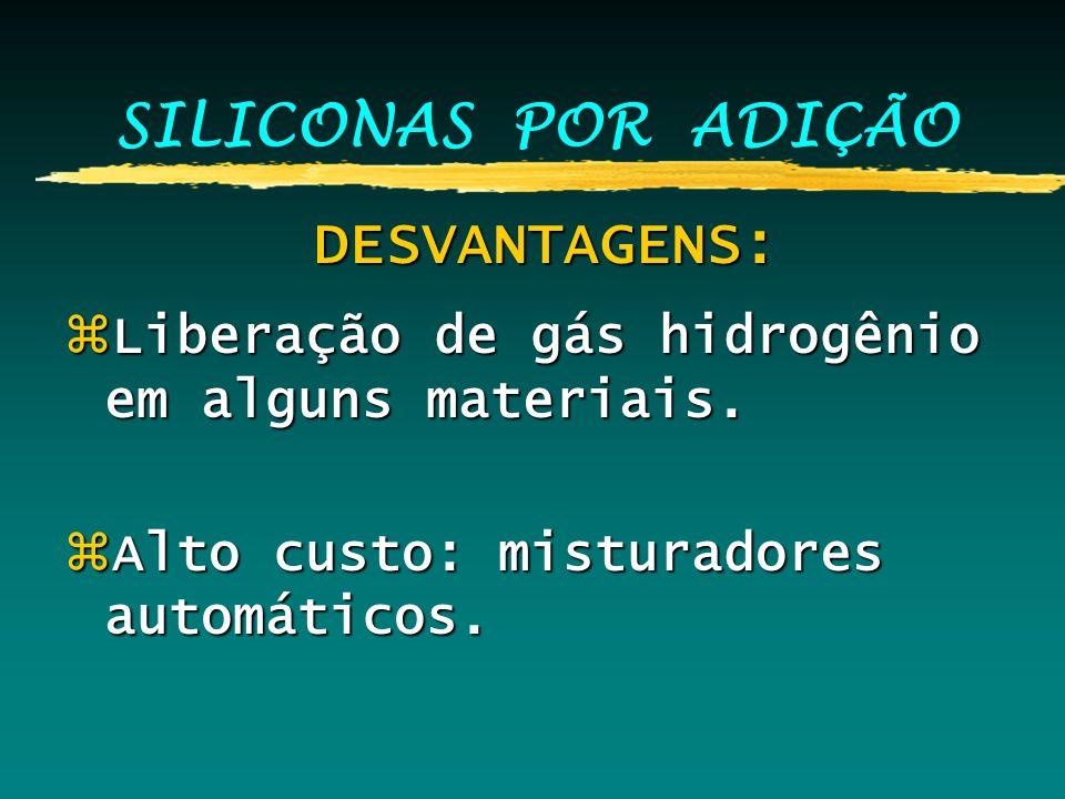 SILICONAS POR ADIÇÃO DESVANTAGENS: DESVANTAGENS: zLiberação de gás hidrogênio em alguns materiais. zAlto custo: misturadores automáticos.
