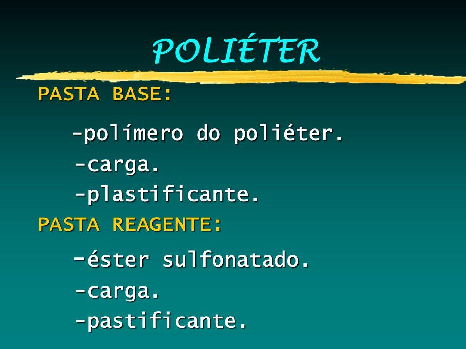 POLIÉTER PASTA BASE: PASTA BASE: -polímero do poliéter. -polímero do poliéter. -carga. -carga. -plastificante. -plastificante. PASTA REAGENTE: PASTA R