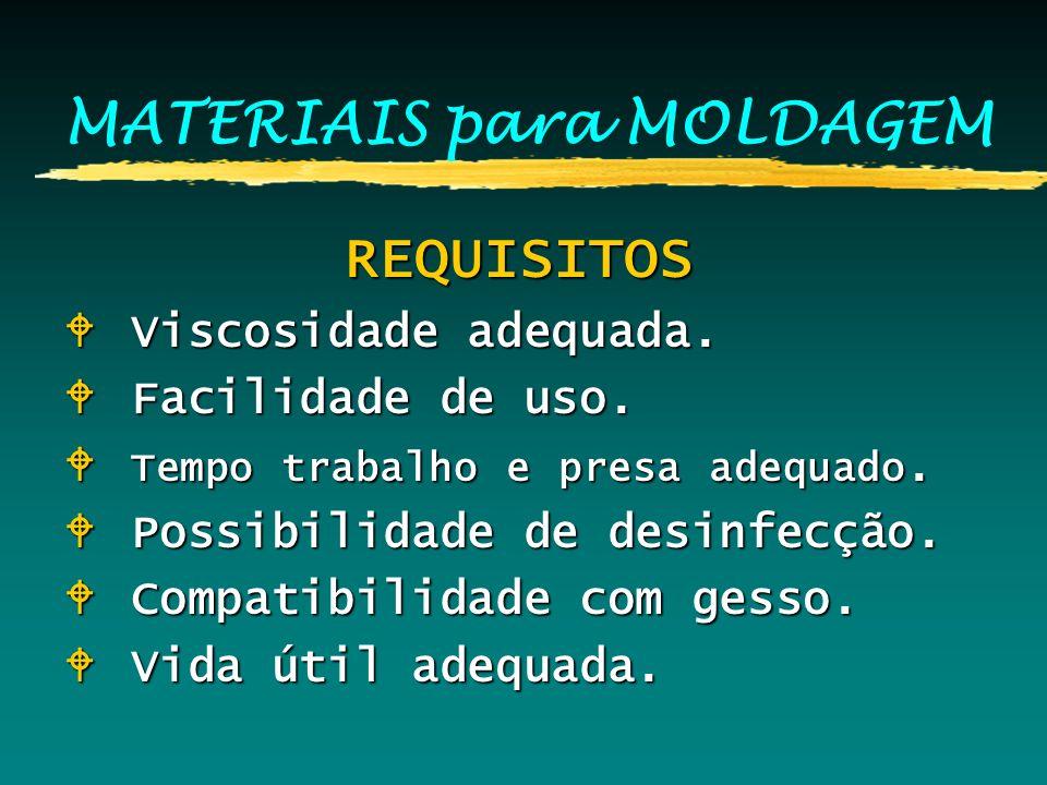 MATERIAIS para MOLDAGEM REQUISITOS REQUISITOS W Viscosidade adequada. W Facilidade de uso. W Tempo trabalho e presa adequado. W Possibilidade de desin