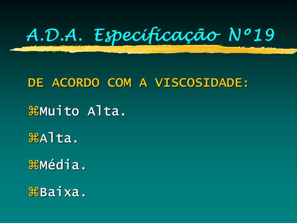 A.D.A. Especificação Nº19 DE ACORDO C/ A INTENÇÃO DE u SO: zSeringas. zMoldeiras.
