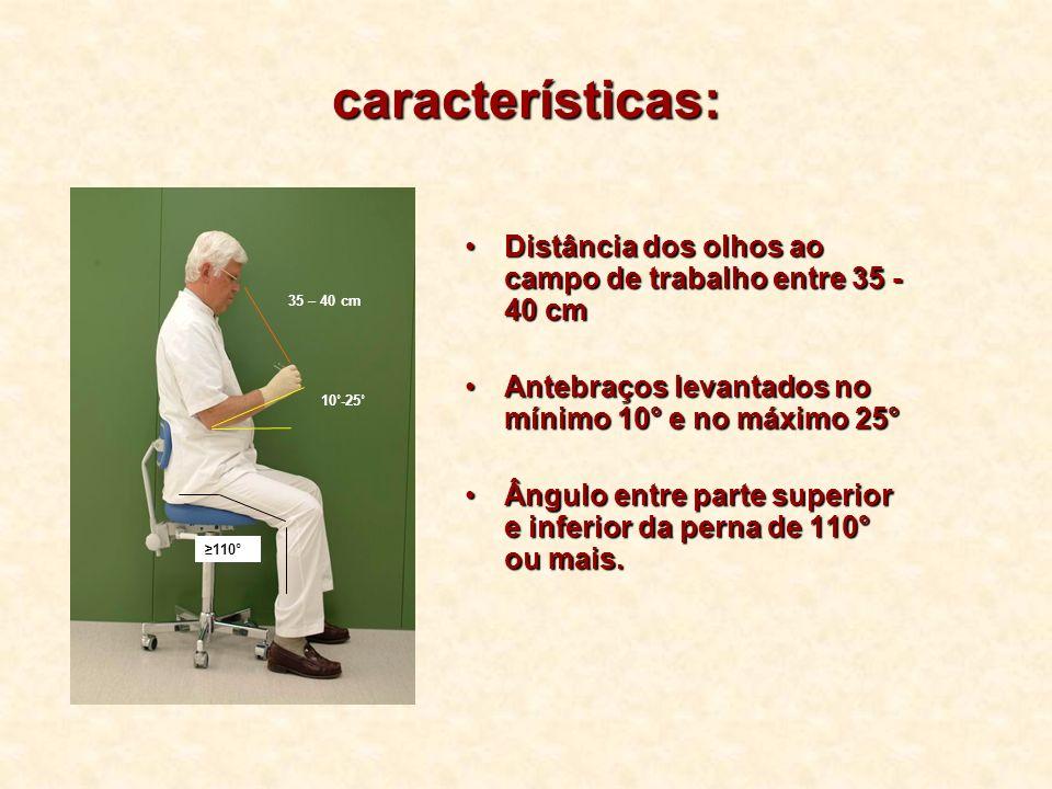 características: Distância dos olhos ao campo de trabalho entre 35 - 40 cmDistância dos olhos ao campo de trabalho entre 35 - 40 cm Antebraços levanta