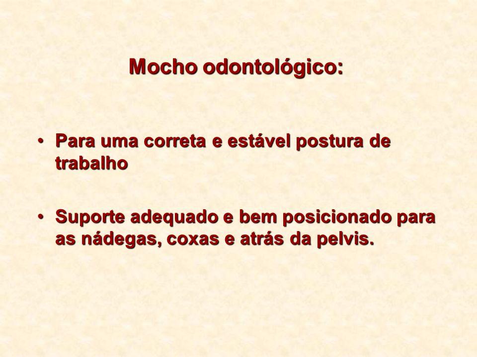 Mocho odontológico: Para uma correta e estável postura de trabalhoPara uma correta e estável postura de trabalho Suporte adequado e bem posicionado pa