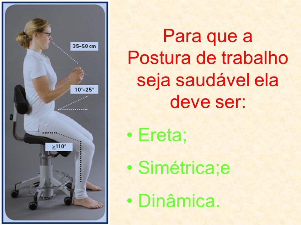 Para que a Postura de trabalho seja saudável ela deve ser: Ereta; Simétrica;e Dinâmica.