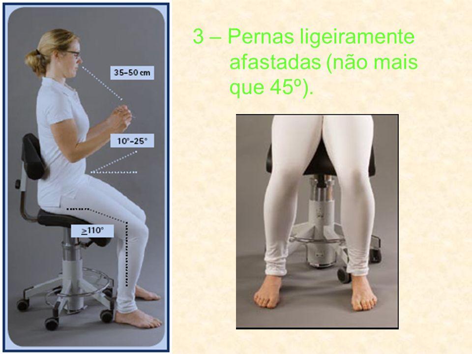 3 – Pernas ligeiramente afastadas (não mais que 45º).