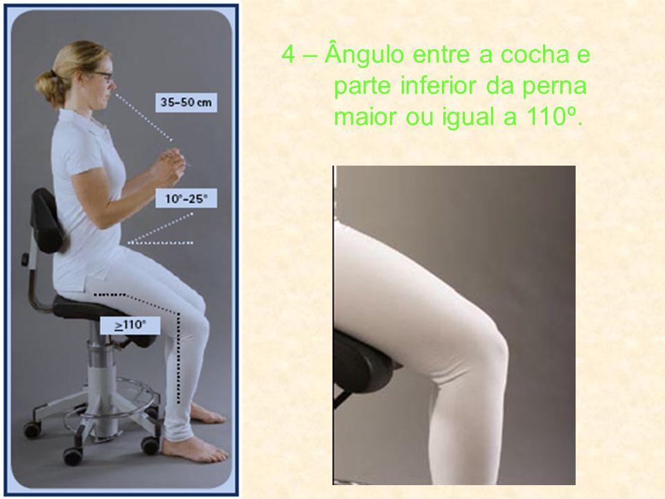 4 – Ângulo entre a cocha e parte inferior da perna maior ou igual a 110º.