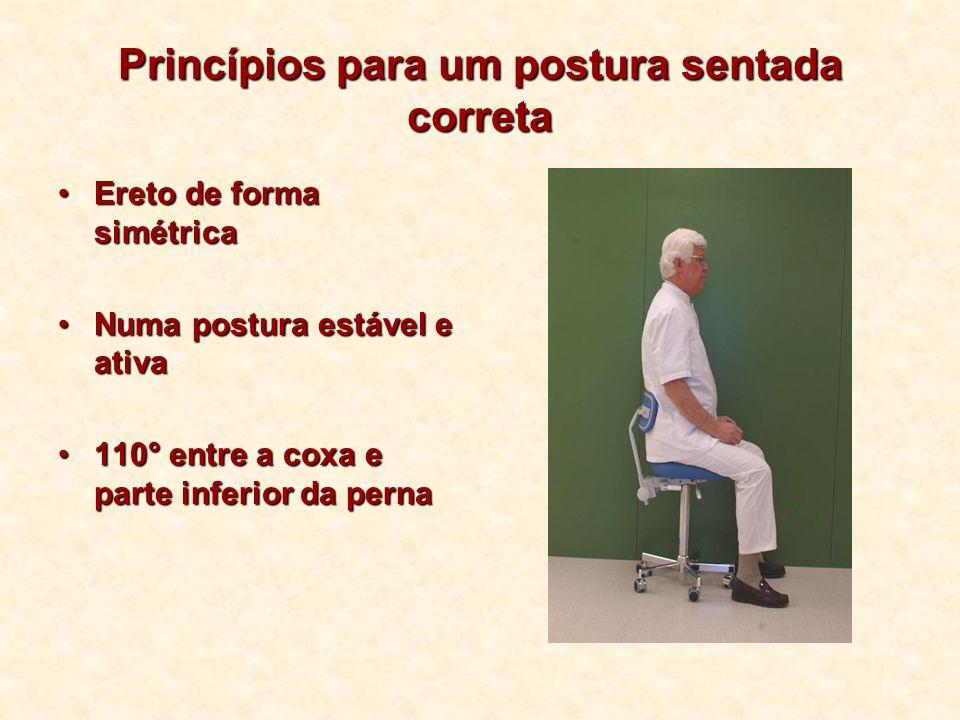 Princípios para um postura sentada correta Ereto de forma simétricaEreto de forma simétrica Numa postura estável e ativaNuma postura estável e ativa 1
