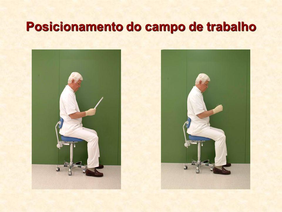 Três movimentos da cabeça do paciente First movement: forward with occlusale surface lower jaw horizontally, about 0°.