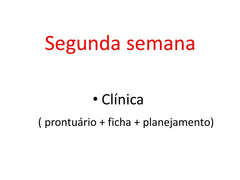 Segunda semana Clínica ( prontuário + ficha + planejamento)