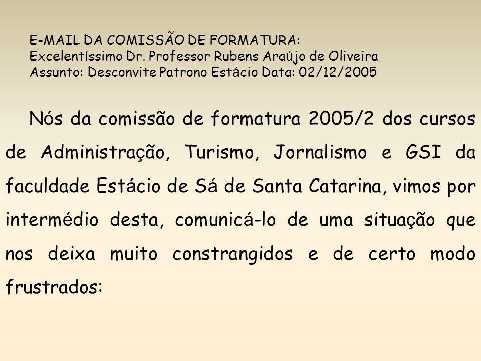 E-MAIL DA COMISSÃO DE FORMATURA: Excelent í ssimo Dr. Professor Rubens Ara ú jo de Oliveira Assunto: Desconvite Patrono Est á cio Data: 02/12/2005 N ó