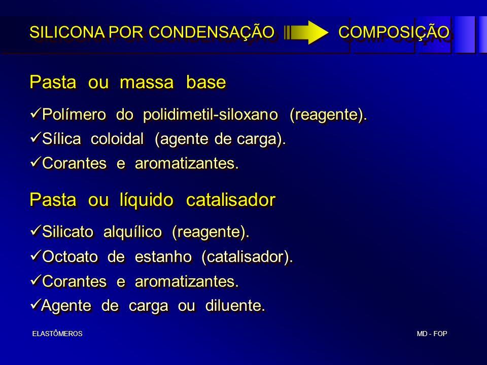 MD - FOP ELASTÔMEROS ELASTÔMEROS SILICONA POR CONDENSAÇÃO COMPOSIÇÃO Pasta ou massa base Pasta ou líquido catalisador Polímero do polidimetil-siloxano