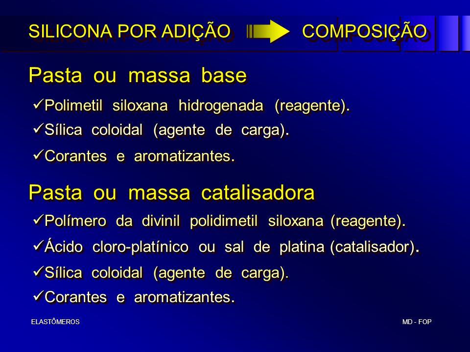 MD - FOP ELASTÔMEROS ELASTÔMEROS SILICONA POR ADIÇÃO COMPOSIÇÃO Pasta ou massa base Pasta ou massa catalisadora Polimetil siloxana hidrogenada (reagen