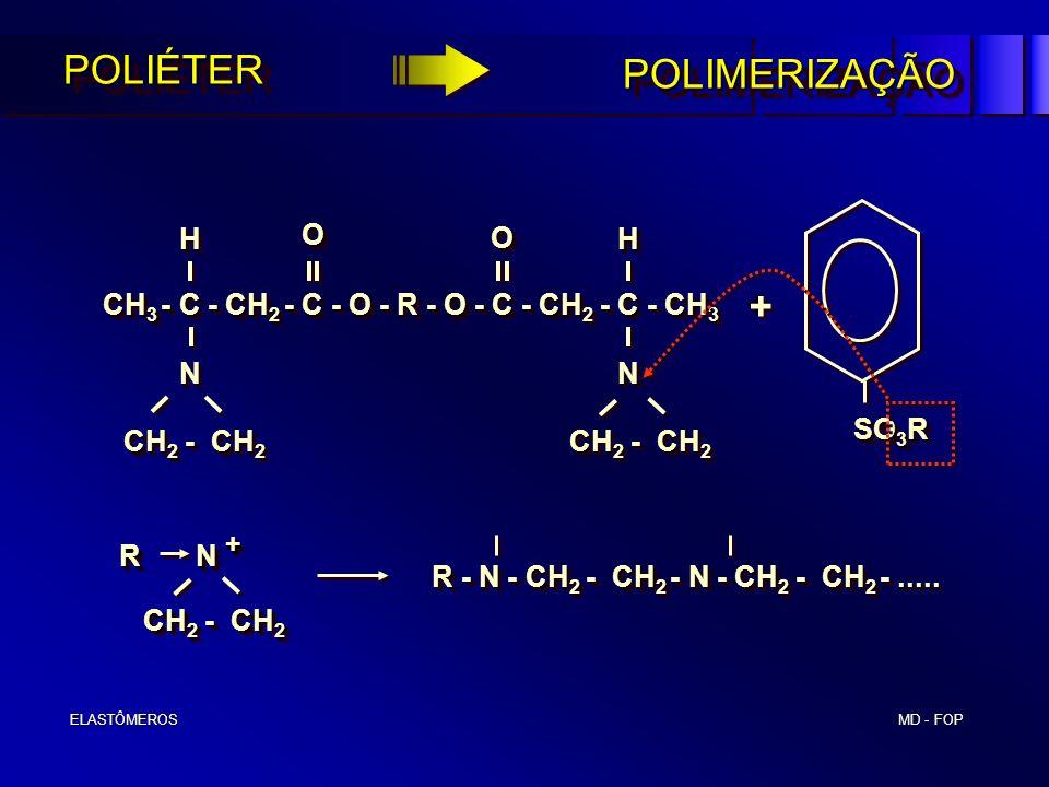 MD - FOP ELASTÔMEROS ELASTÔMEROSPOLIÉTERPOLIÉTER CH 2 - CH 2 CH 2 - CH 2 N N CH 3 - C - CH 2 - C - O - R - O - C - CH 2 - C - CH 3 H H HH O O O O CH 2