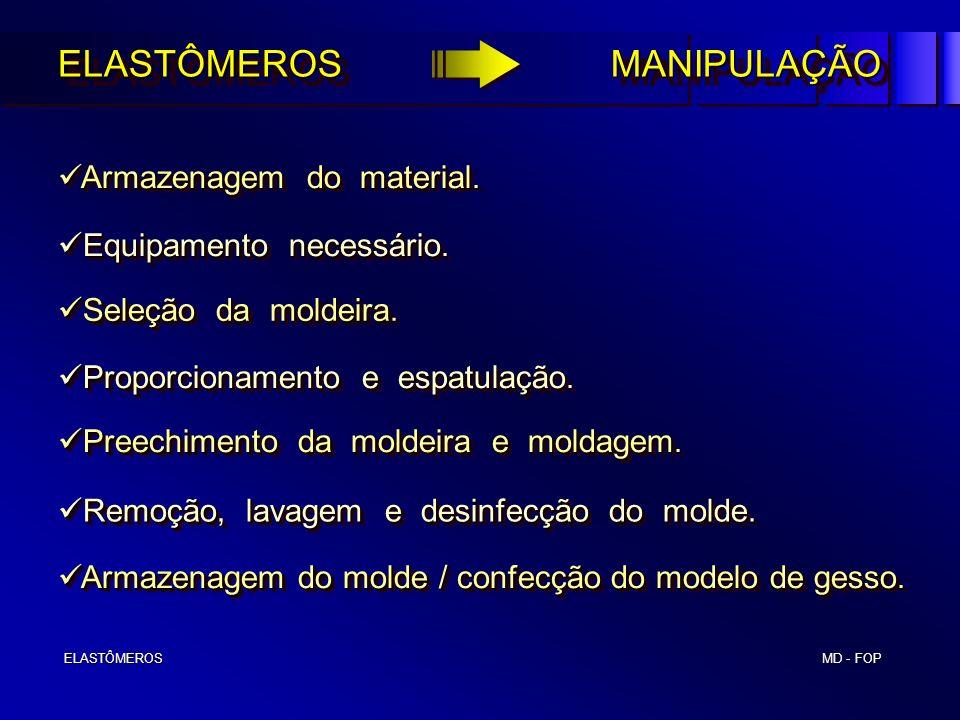 MD - FOP ELASTÔMEROS ELASTÔMEROS Proporcionamento e espatulação. Proporcionamento e espatulação. Preechimento da moldeira e moldagem. Preechimento da