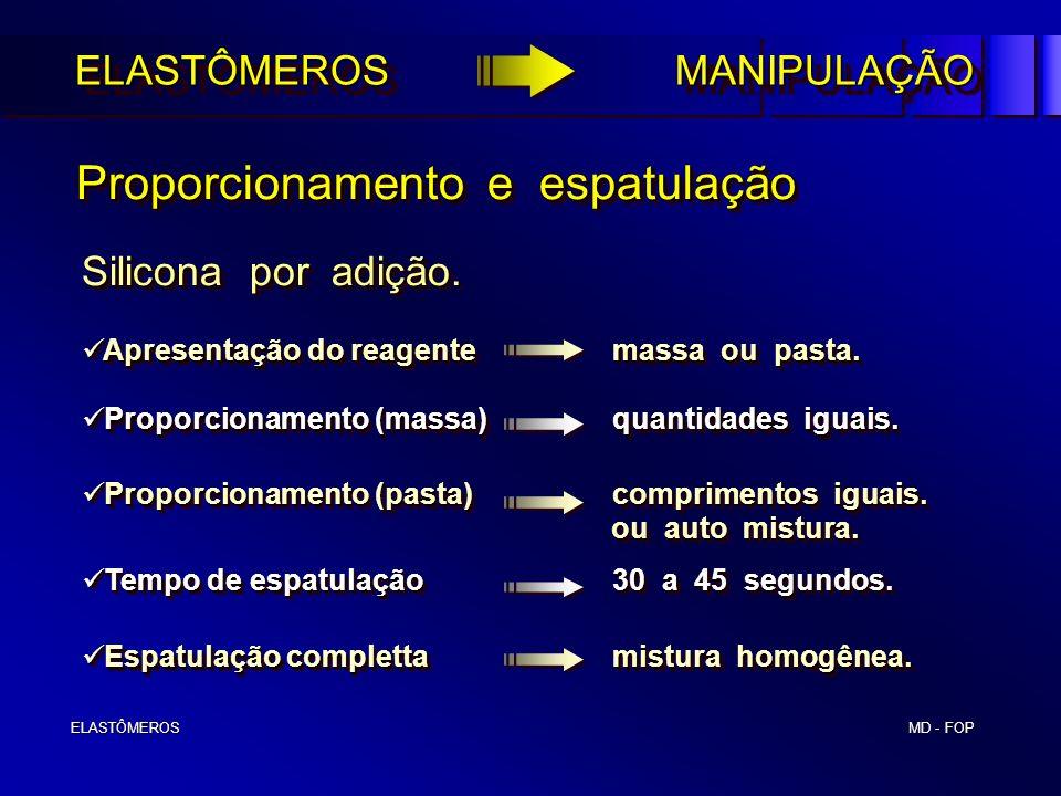 MD - FOP ELASTÔMEROS ELASTÔMEROS Proporcionamento e espatulação Proporcionamento e espatulação Silicona por adição. Proporcionamento (massa)quantidade