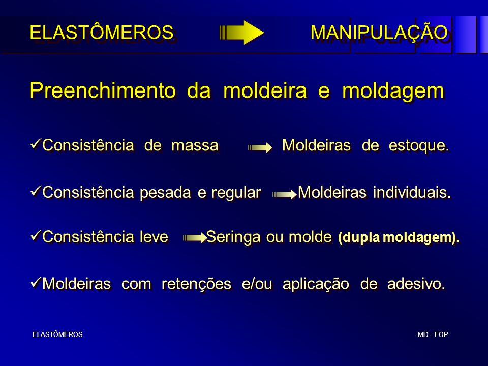 MD - FOP ELASTÔMEROS ELASTÔMEROS Preenchimento da moldeira e moldagem Preenchimento da moldeira e moldagem ELASTÔMEROS MANIPULAÇÃO Consistência de mas