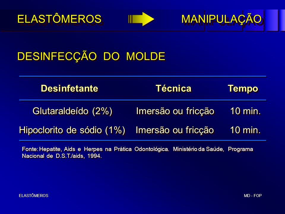 MD - FOP ELASTÔMEROS ELASTÔMEROS DESINFECÇÃO DO MOLDE Desinfetante Técnica Tempo Desinfetante Técnica Tempo Glutaraldeído (2%) Imersão ou fricção 10 m
