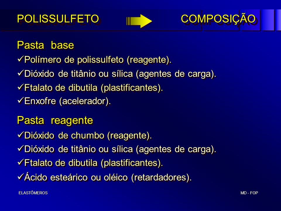 MD - FOP ELASTÔMEROS ELASTÔMEROS POLISSULFETO COMPOSIÇÃO Pasta base Pasta reagente Dióxido de chumbo (reagente). Dióxido de chumbo (reagente). Polímer
