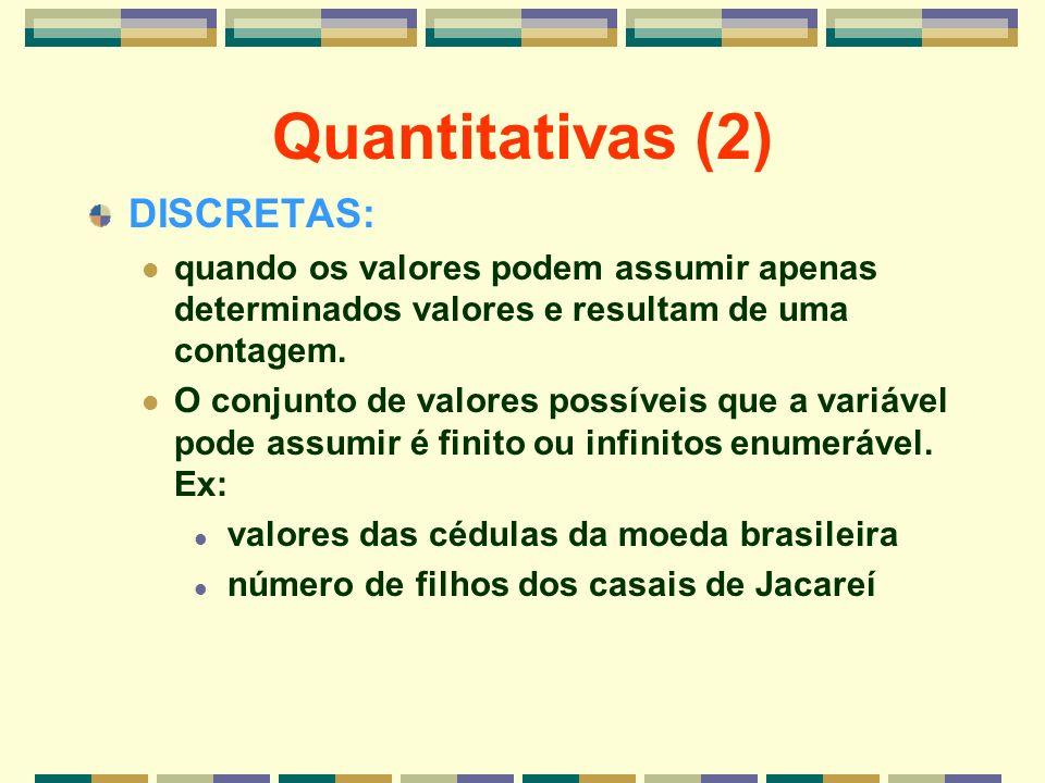 Quantitativas (2) DISCRETAS: quando os valores podem assumir apenas determinados valores e resultam de uma contagem. O conjunto de valores possíveis q