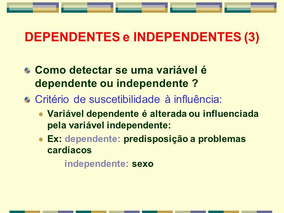 DEPENDENTES e INDEPENDENTES (3) Como detectar se uma variável é dependente ou independente ? Critério de suscetibilidade à influência: Variável depend