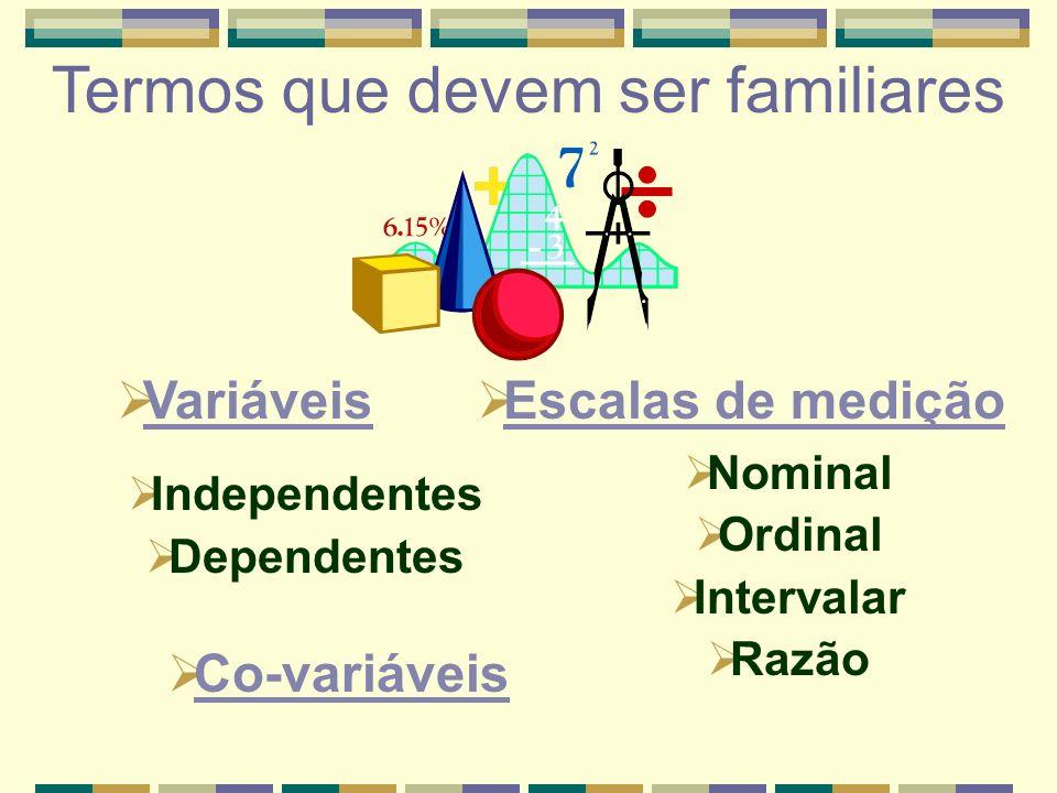 Variáveis Independentes Dependentes Termos que devem ser familiares Escalas de medição Co-variáveis Nominal Ordinal Intervalar Razão