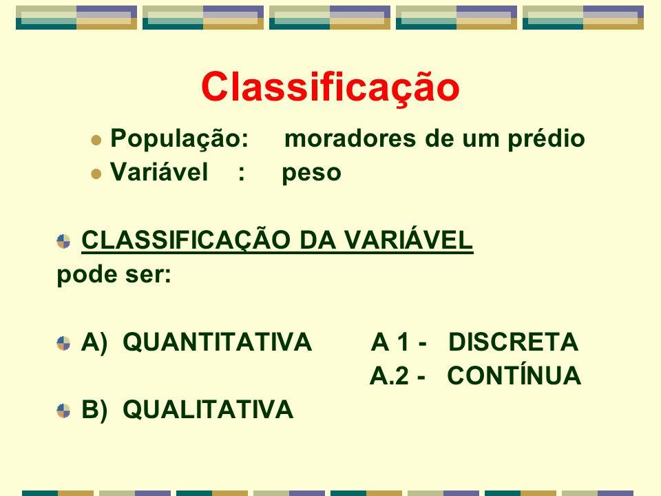 Classificação População: moradores de um prédio Variável : peso CLASSIFICAÇÃO DA VARIÁVEL pode ser: A) QUANTITATIVA A 1 - DISCRETA A.2 - CONTÍNUA B) Q