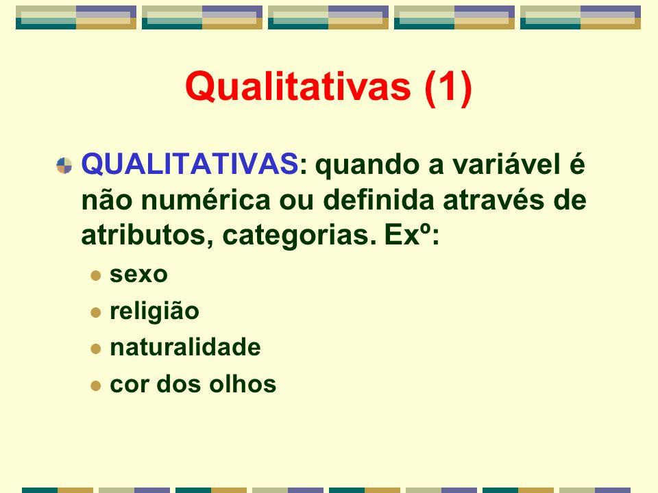 Qualitativas (1) QUALITATIVAS: quando a variável é não numérica ou definida através de atributos, categorias. Exº: sexo religião naturalidade cor dos