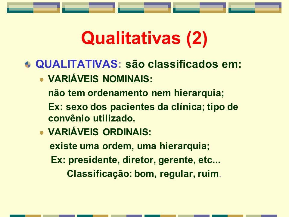 Qualitativas (2) QUALITATIVAS: são classificados em: VARIÁVEIS NOMINAIS: não tem ordenamento nem hierarquia; Ex: sexo dos pacientes da clínica; tipo d