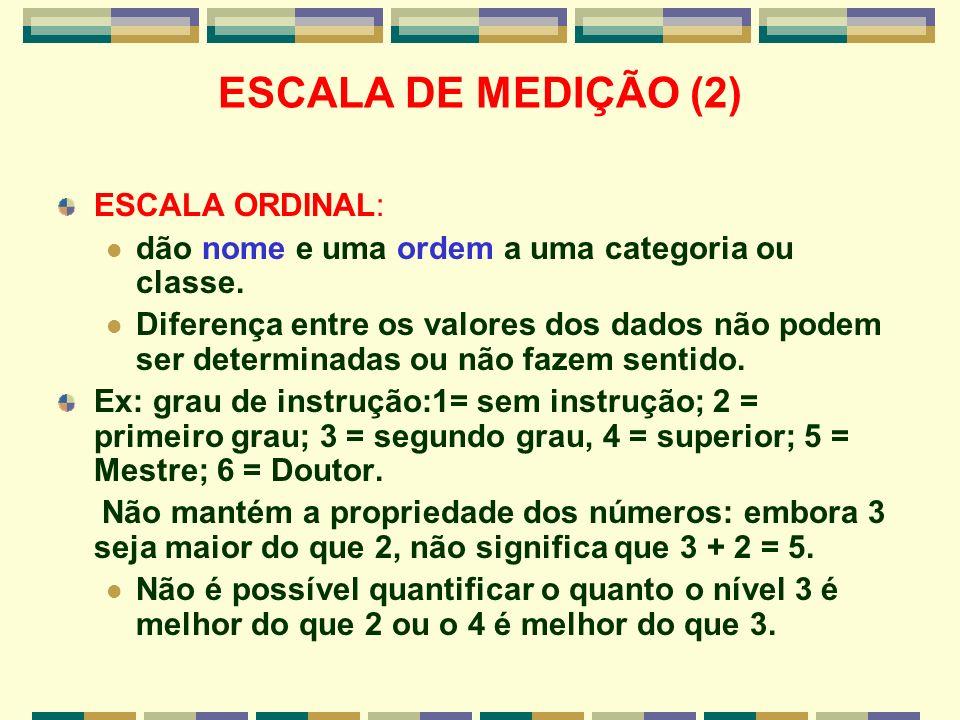 ESCALA DE MEDIÇÃO (2) ESCALA ORDINAL: dão nome e uma ordem a uma categoria ou classe. Diferença entre os valores dos dados não podem ser determinadas