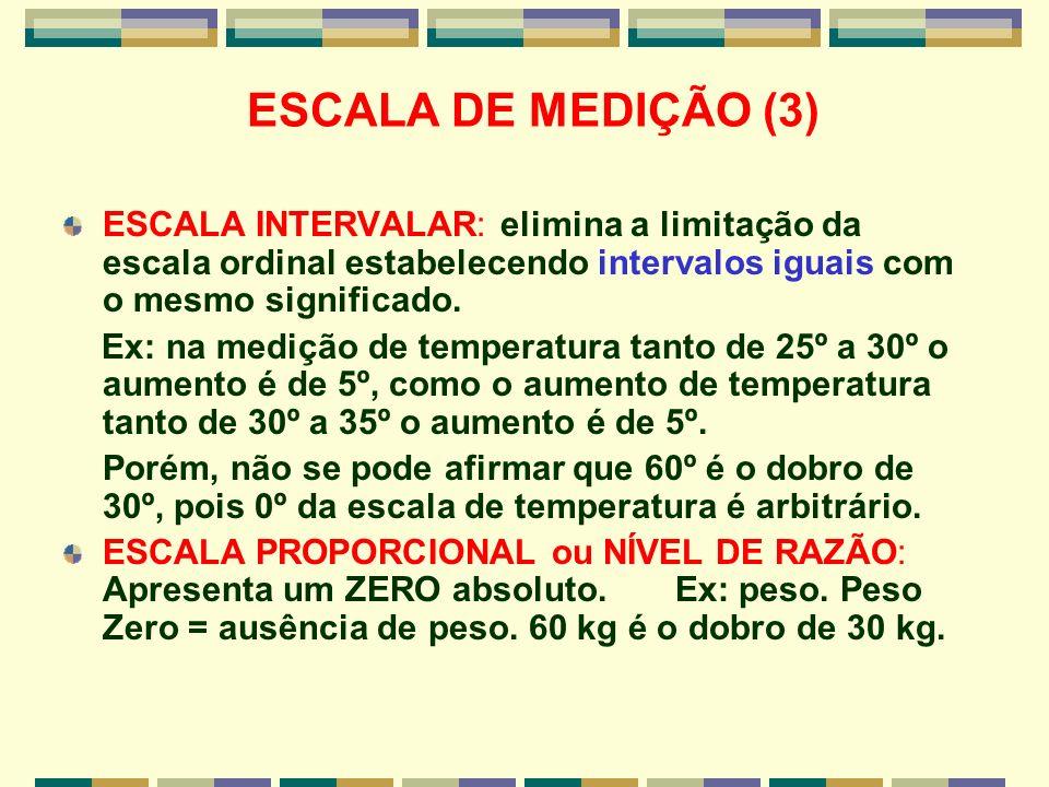 ESCALA DE MEDIÇÃO (3) ESCALA INTERVALAR: elimina a limitação da escala ordinal estabelecendo intervalos iguais com o mesmo significado. Ex: na medição