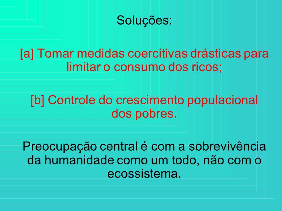 Soluções: [a] Tomar medidas coercitivas drásticas para limitar o consumo dos ricos; [b] Controle do crescimento populacional dos pobres. Preocupação c