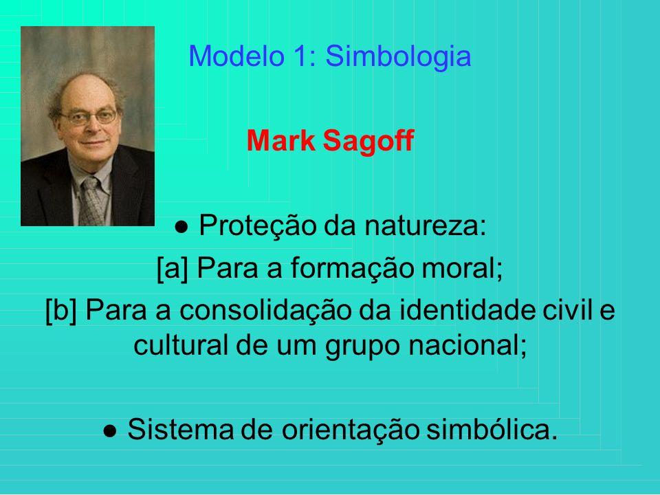 Modelo 1: Simbologia Mark Sagoff Proteção da natureza: [a] Para a formação moral; [b] Para a consolidação da identidade civil e cultural de um grupo n
