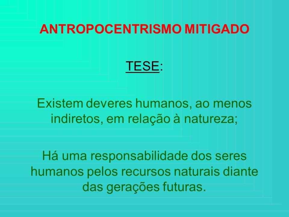 ANTROPOCENTRISMO MITIGADO TESE: Existem deveres humanos, ao menos indiretos, em relação à natureza; Há uma responsabilidade dos seres humanos pelos re