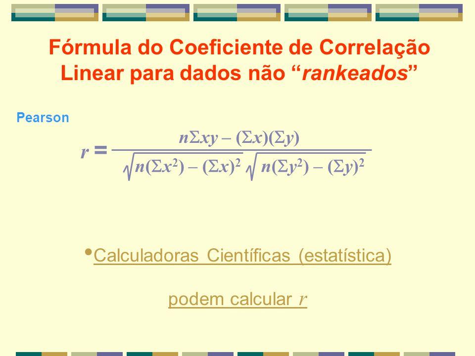 n xy – ( x)( y) n( x 2 ) – ( x) 2 n( y 2 ) – ( y) 2 r = Calculadoras Científicas (estatística) podem calcular r Fórmula do Coeficiente de Correlação L
