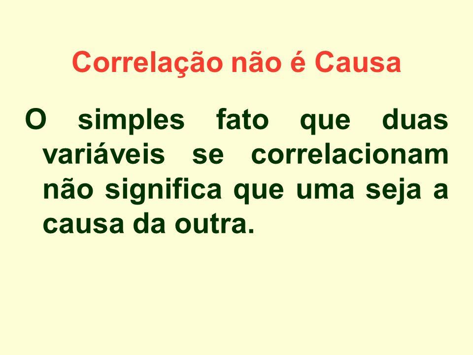 Correlação não é Causa O simples fato que duas variáveis se correlacionam não significa que uma seja a causa da outra.