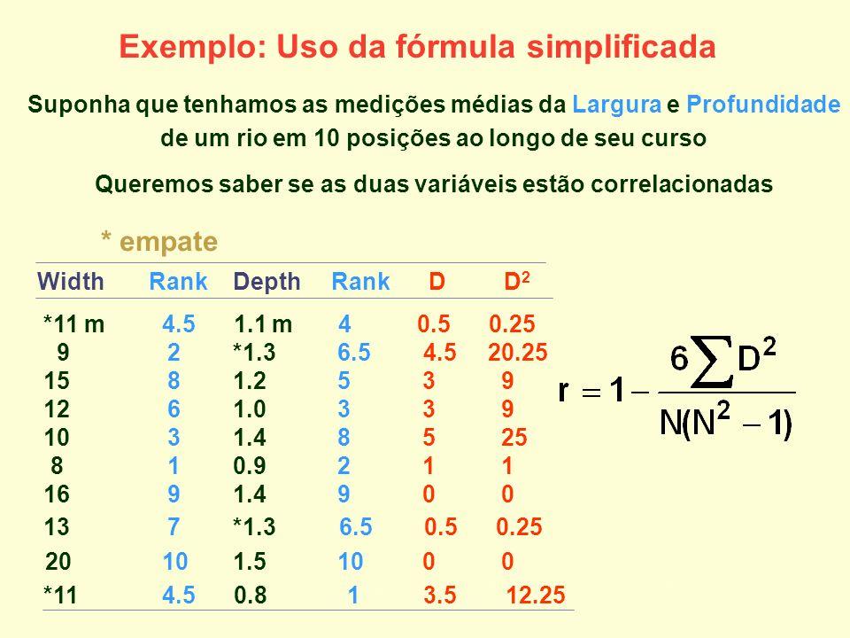 Exemplo: Uso da fórmula simplificada Suponha que tenhamos as medições médias da Largura e Profundidade de um rio em 10 posições ao longo de seu curso
